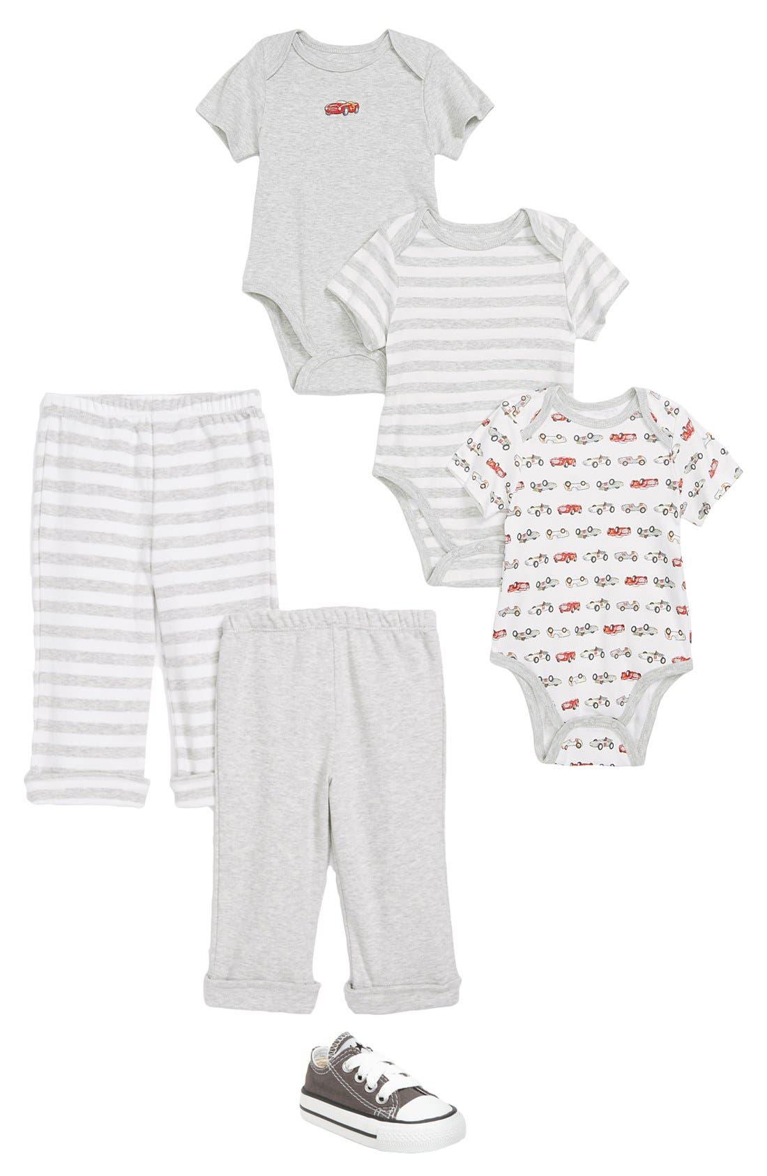 Alternate Image 2  - Little Me 'Race Car' Bodysuits (Set of 3) (Baby Boys)