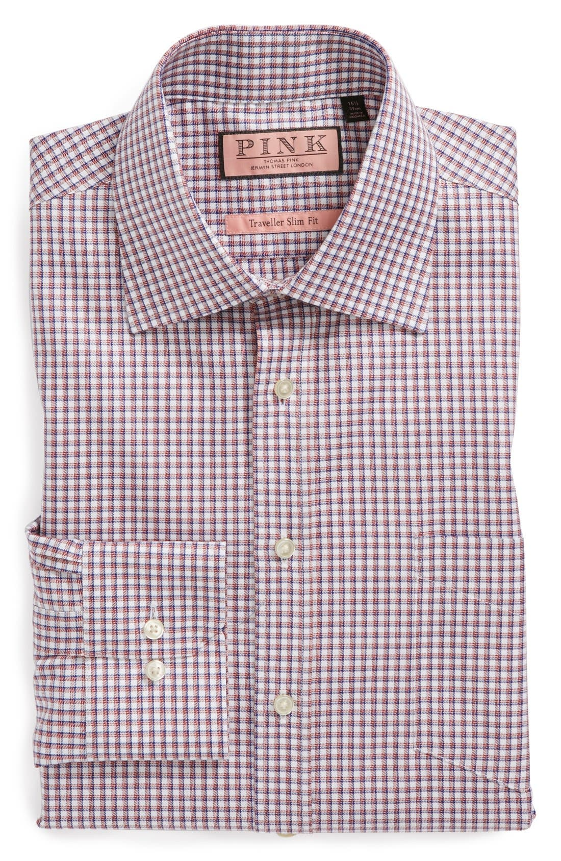 Main Image - Thomas Pink 'Cantwell' Slim Fit Traveler Check Non-Iron Dress Shirt