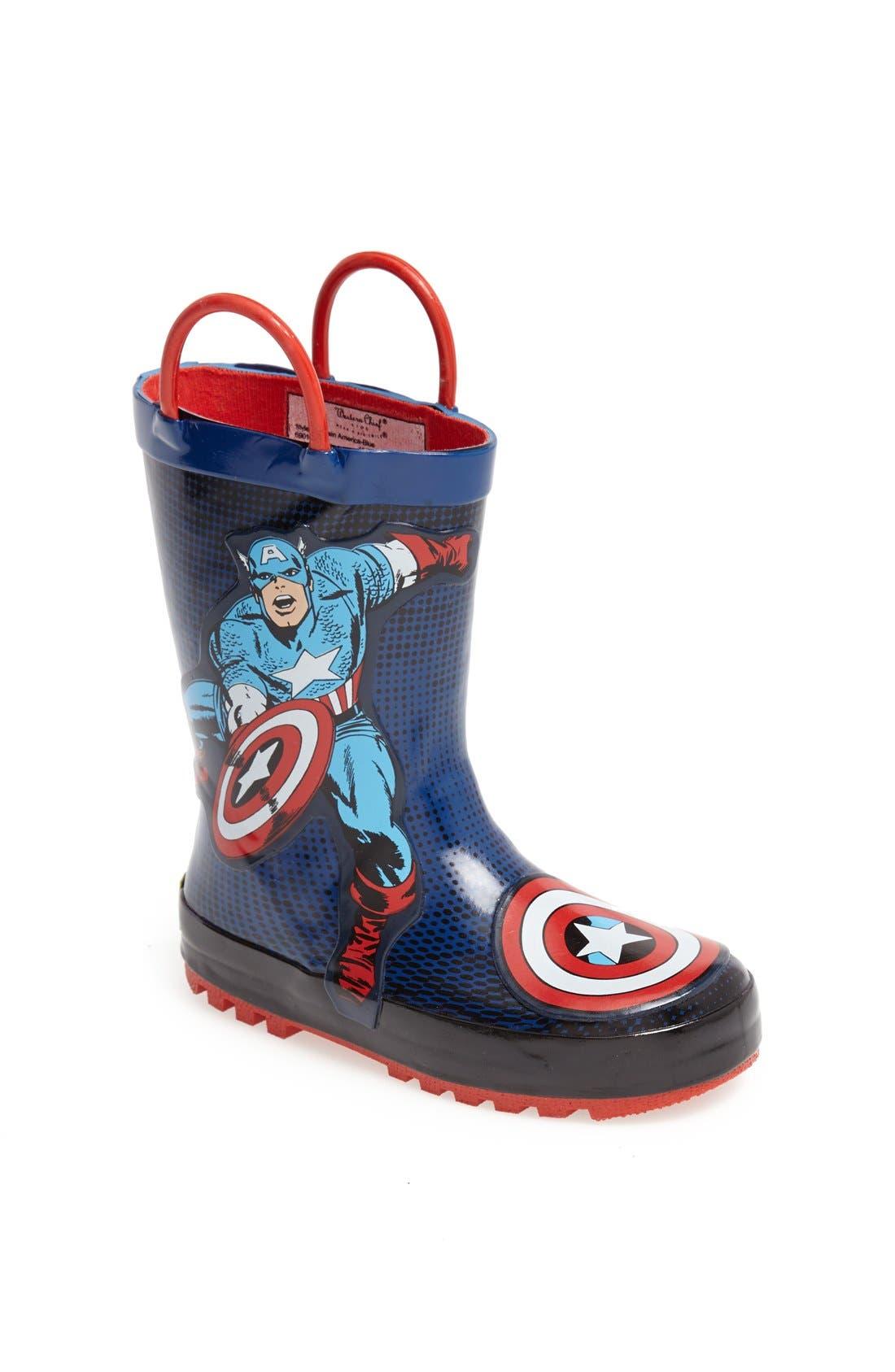 Main Image - Western Chief 'Captain America™' Rain Boot (Toddler)
