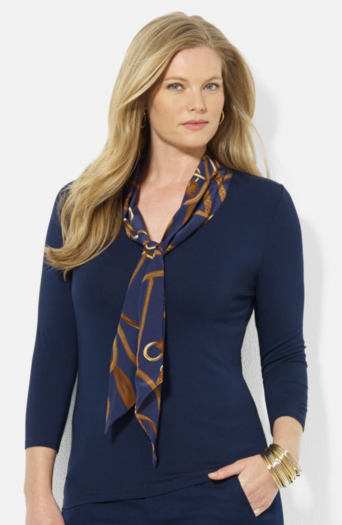Alternate Image 1 Selected - Lauren Ralph Lauren Tie Neck Jersey Tee (Plus Size)