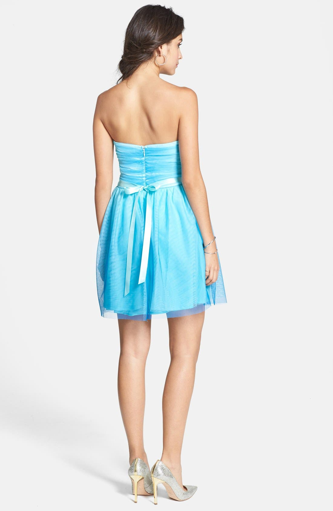 Alternate Image 2  - As U Wish 'Wendy' Embellished Ombré Fit & Flare Dress (Juniors)