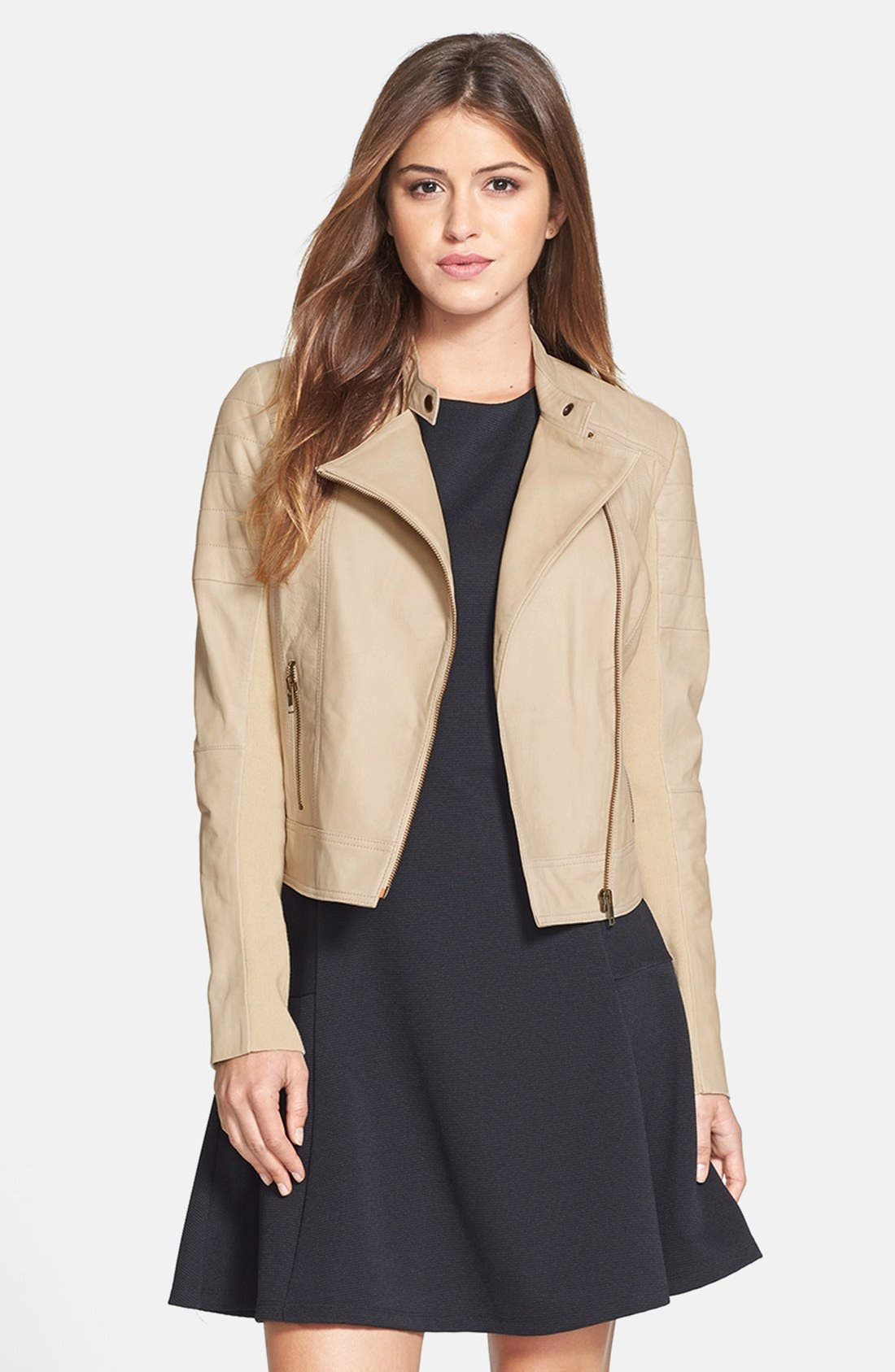 Main Image - Halogen® Leather Moto Jacket (Regular & Petite)
