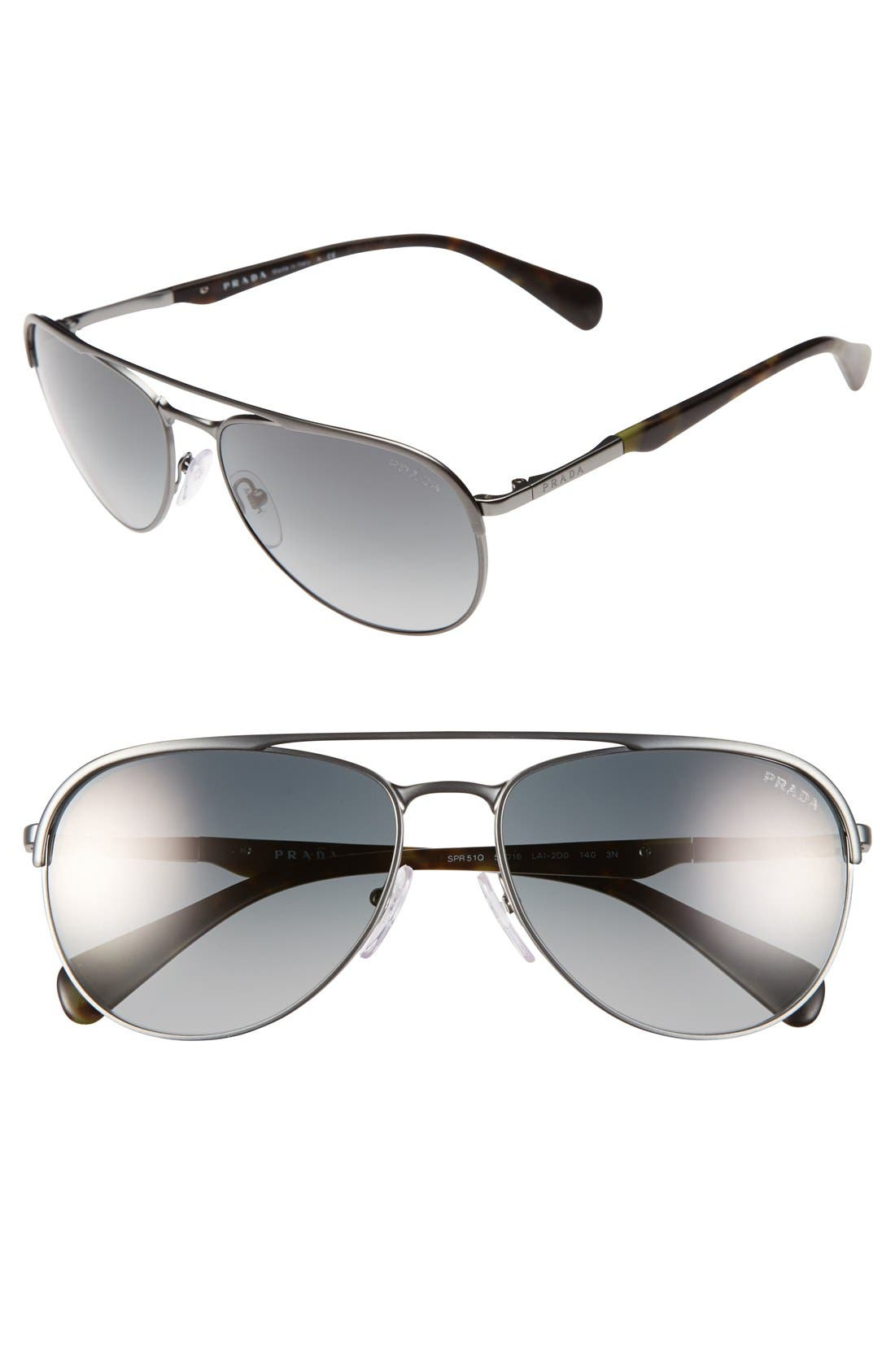Main Image - Prada 59mm Aviator Sunglasses
