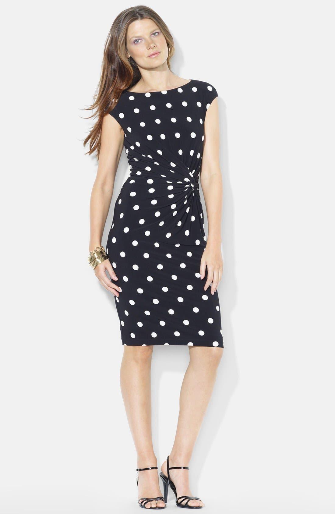 Alternate Image 3  - Lauren Ralph Lauren Knot Front Print Jersey Sheath Dress