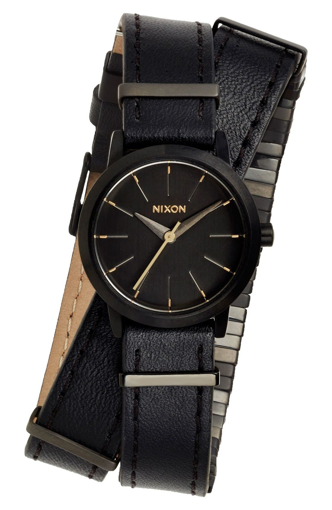 Alternate Image 1 Selected - Nixon 'The Kenzi' Metal Detail Wrap Leather Strap Watch, 26mm