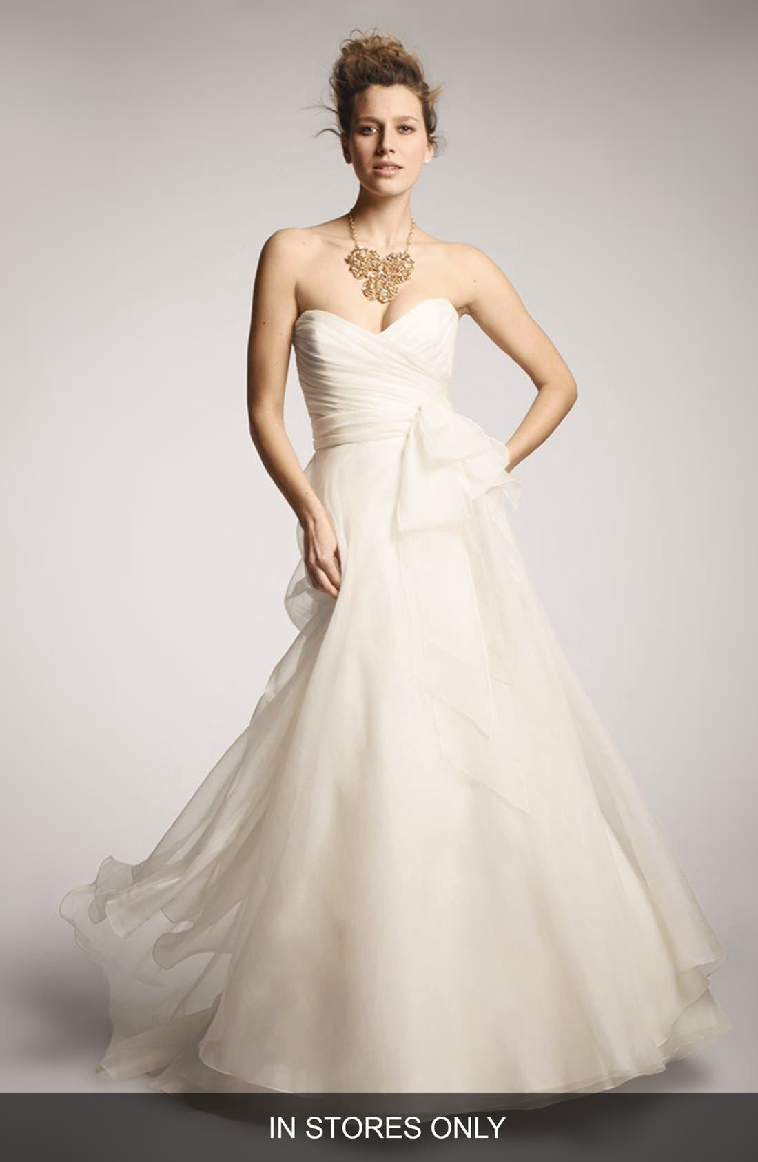 Main Image - nouvelle AMSALE Bow Detail Silk Organza Ballgown (In Stores Only)