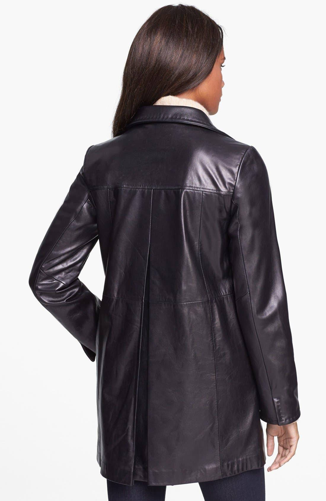 Alternate Image 2  - Ellen Tracy Leather Car Coat (Petite)