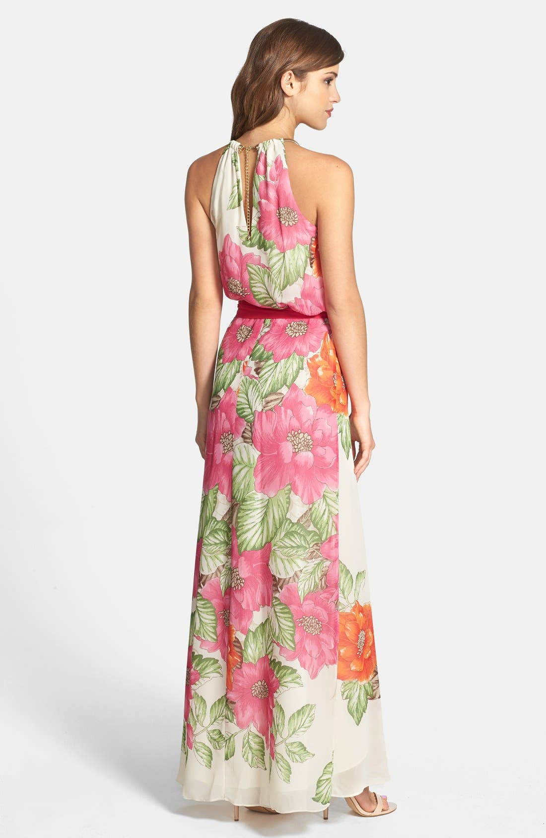 Alternate Image 2  - Eliza J Cutaway Floral Print Maxi Dress
