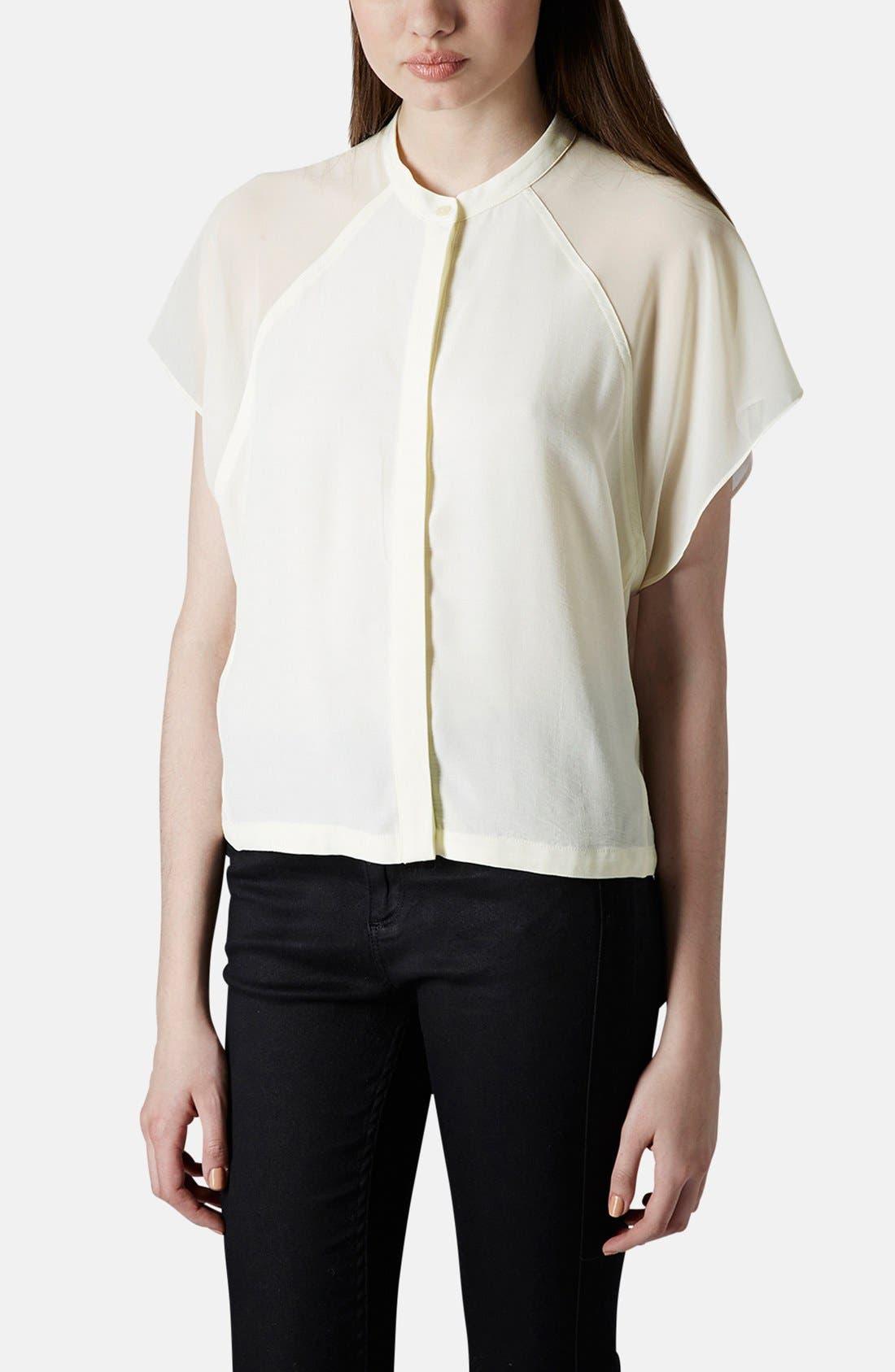 Main Image - Topshop Sheer Raglan Sleeve Shirt