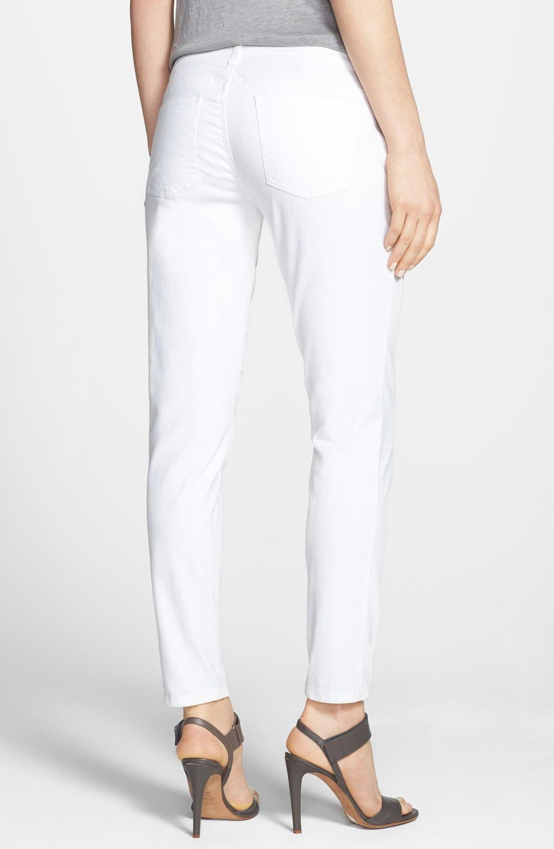 Alternate Image 2  - Eileen Fisher Stretch Denim Ankle Skinny Jeans (White) (Regular & Petite)