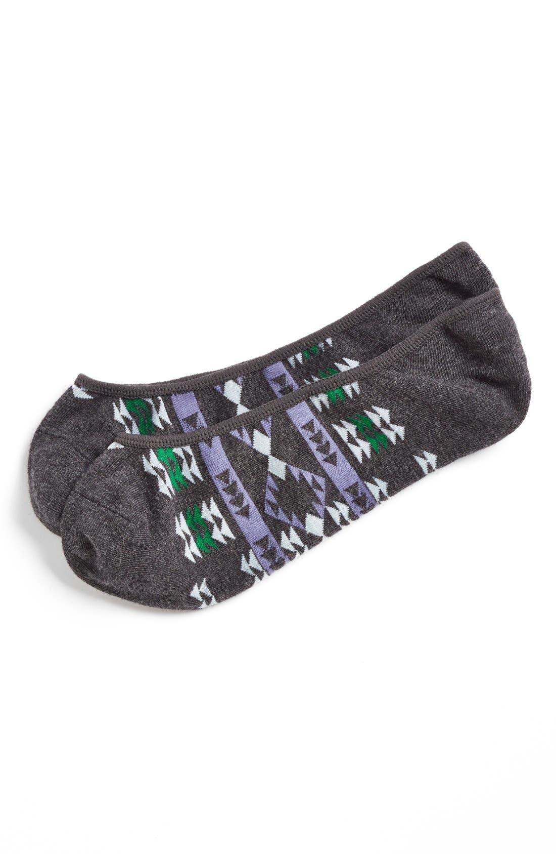 Main Image - 1901 Blanket Stripe No-Show Socks