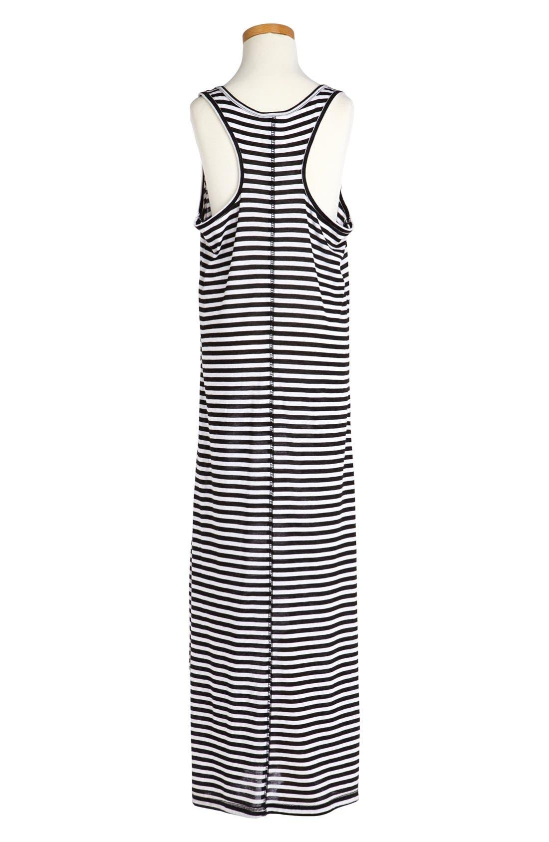 Alternate Image 2  - Little Pretties Stripe Sunflower Print Maxi Dress (Big Girls)