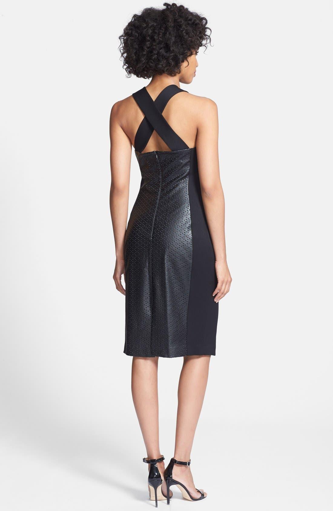 Alternate Image 2  - Black Halo 'Blayze' Laser Cut Faux Leather & Gabardine Dress