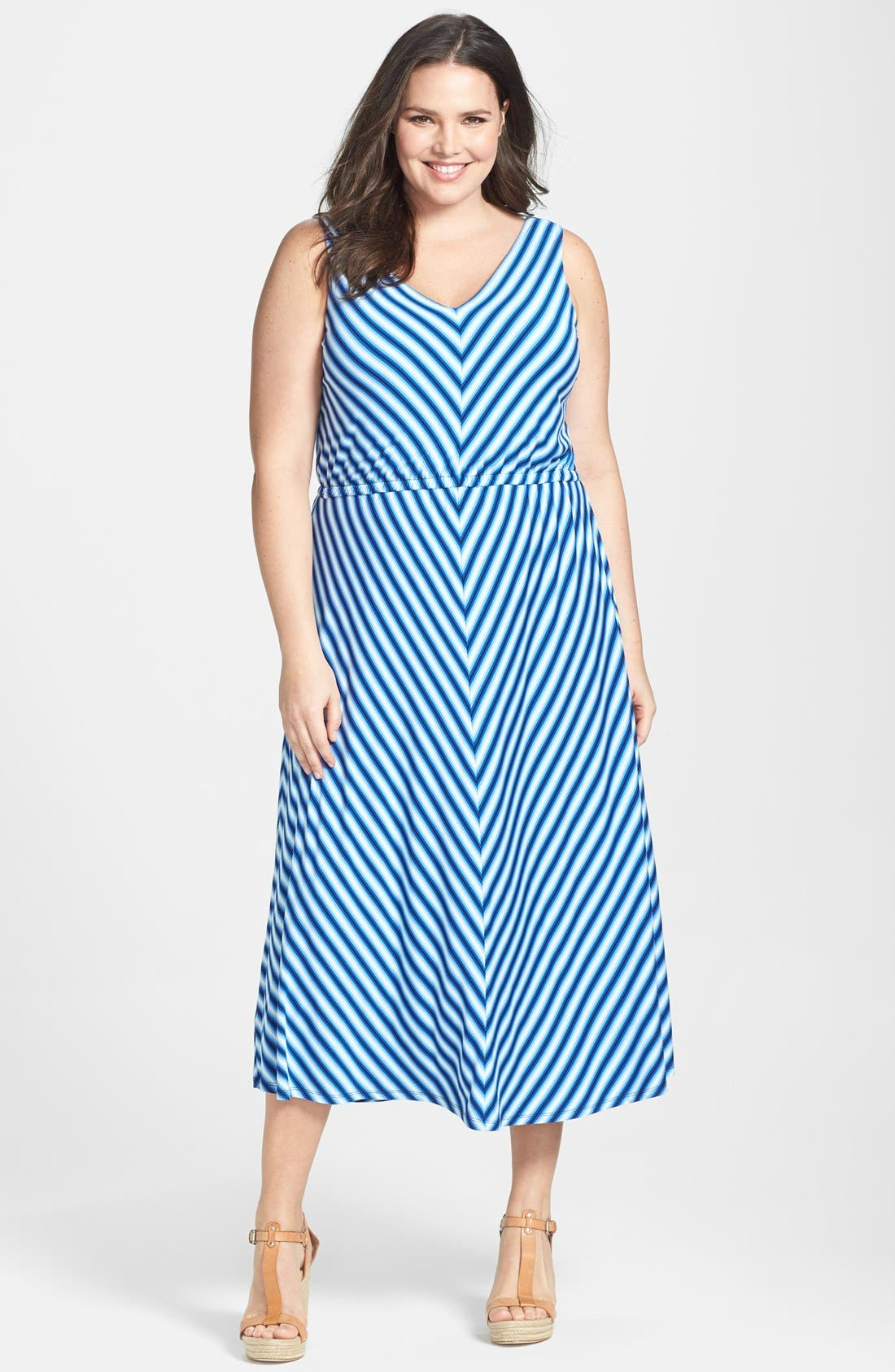 Alternate Image 1 Selected - Calvin Klein Miter Stripe Maxi Dress (Plus Size)
