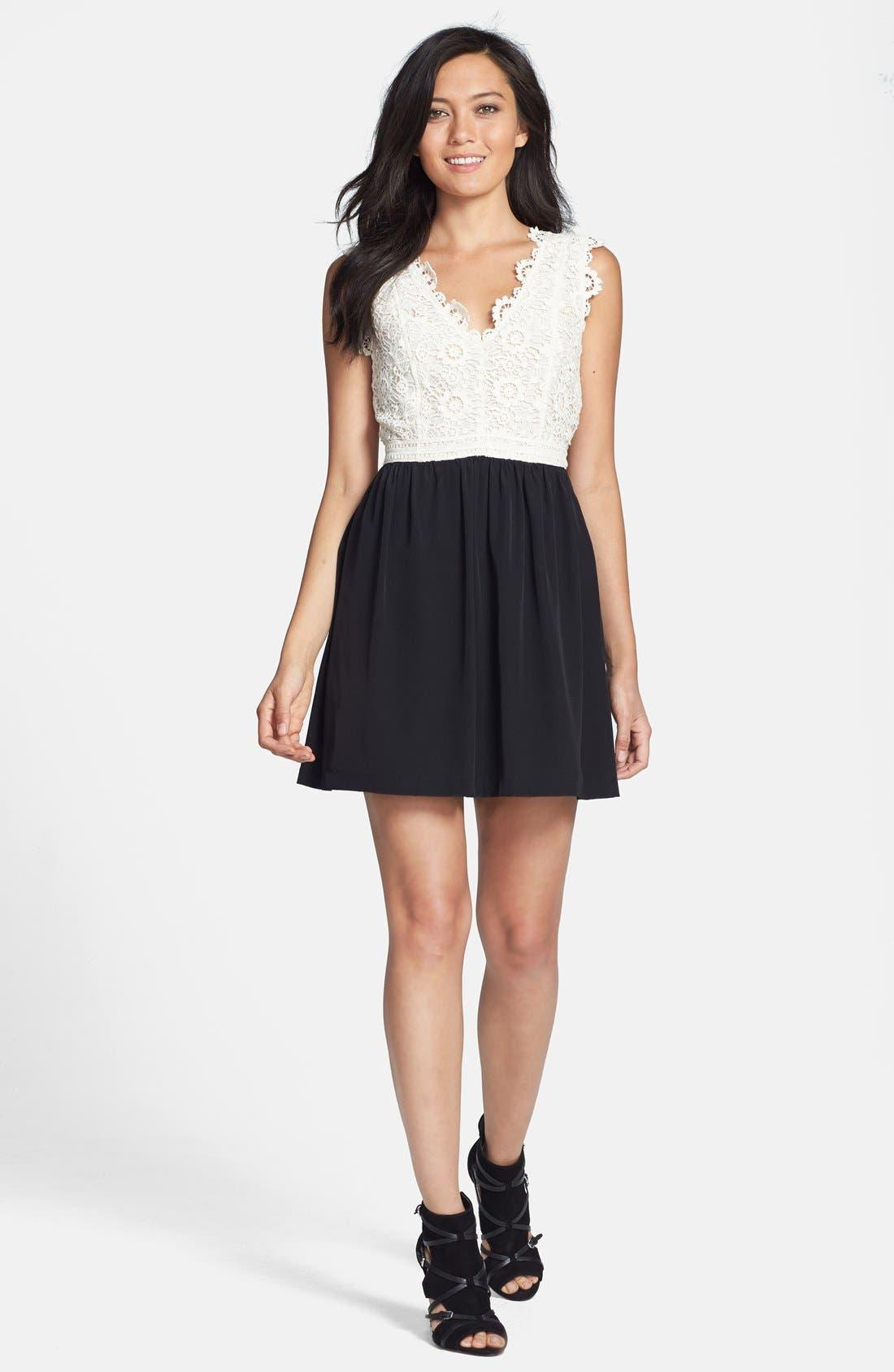 Alternate Image 1 Selected - Madison Marcus Cotton Lace & Silk Dress