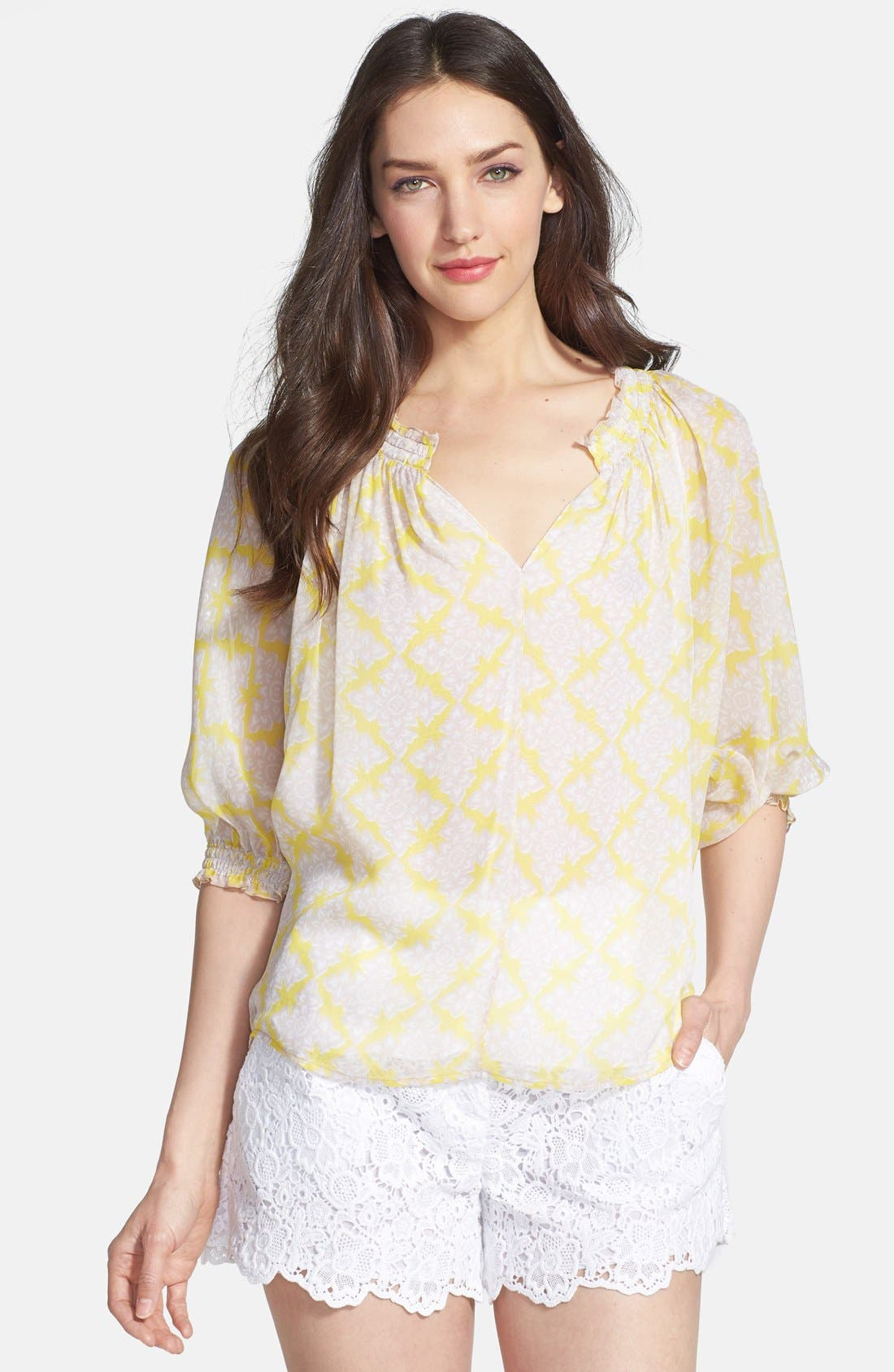 Alternate Image 1 Selected - Diane von Furstenberg 'Bryn' Print Silk Top