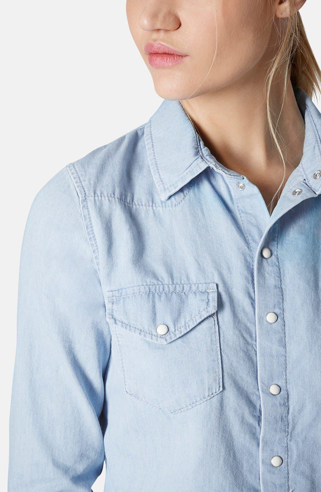 Alternate Image 4  - Topshop Chambray Western Shirt