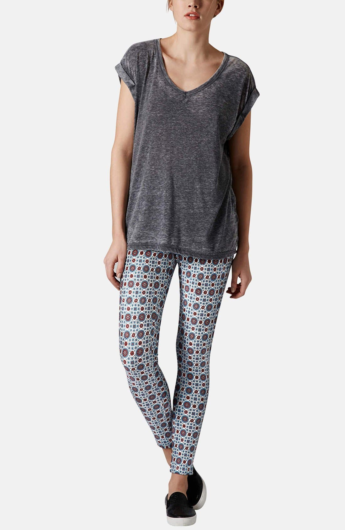 Alternate Image 5  - Topshop Print Denim Leggings