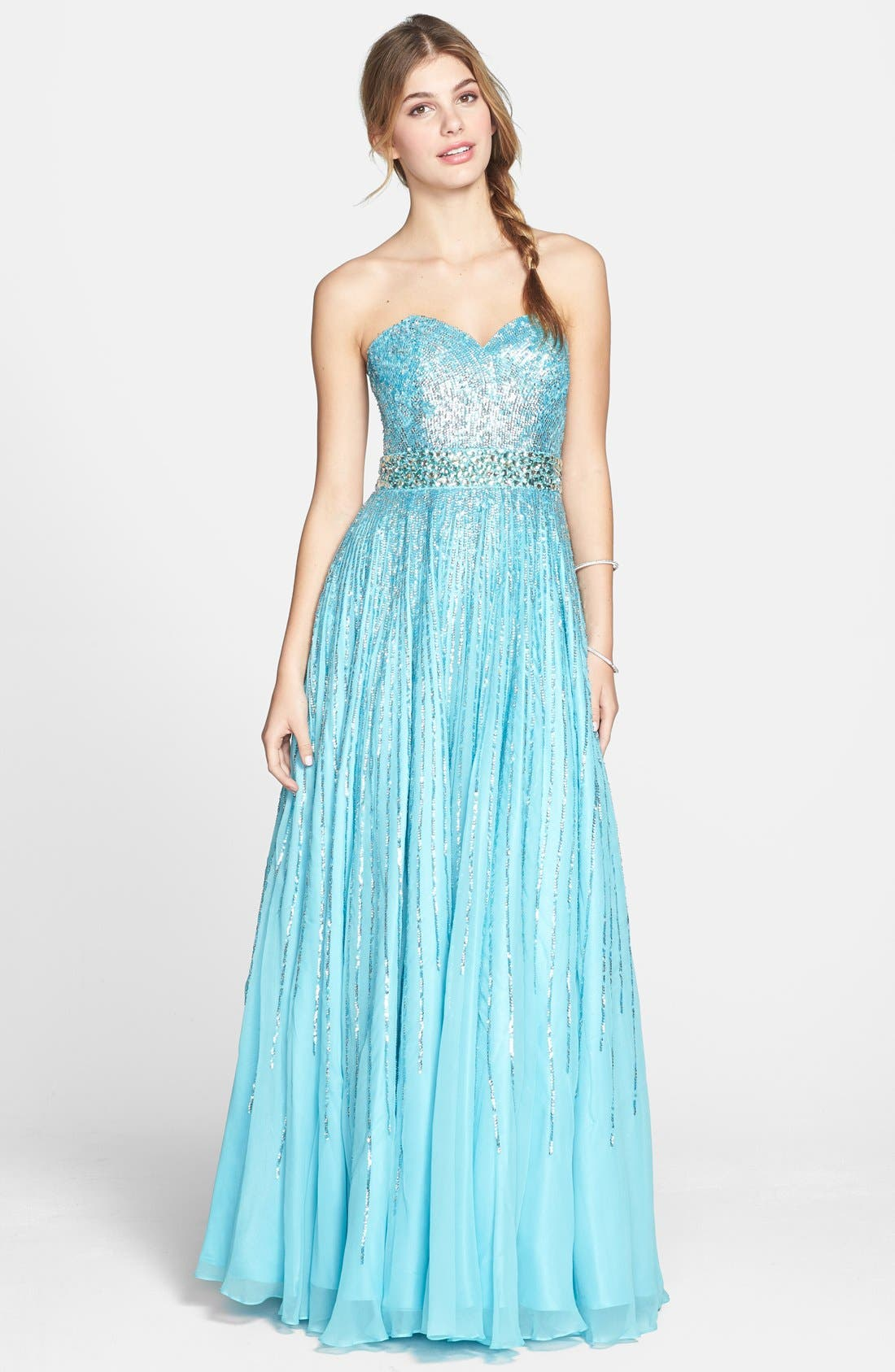 Main Image - Sherri Hill Sequin Coated Strapless Chiffon Gown