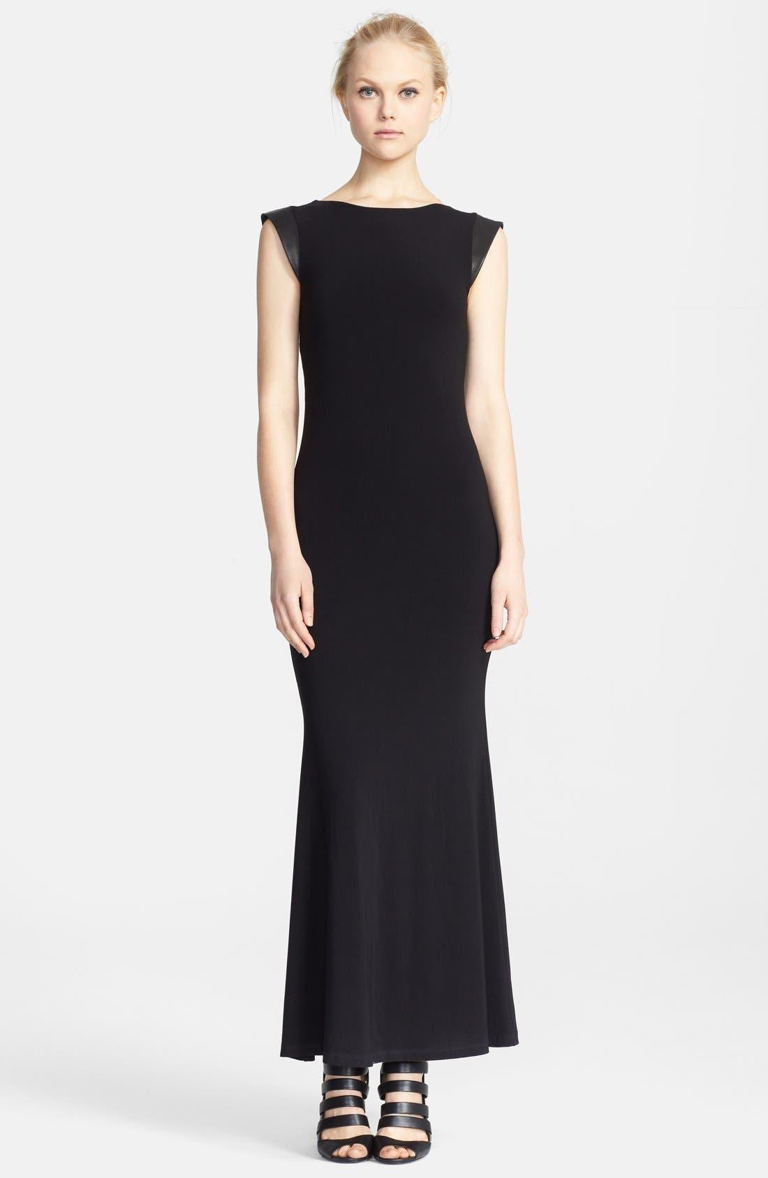 Main Image - Alice + Olivia Leather Trim Cutout Back Maxi Dress