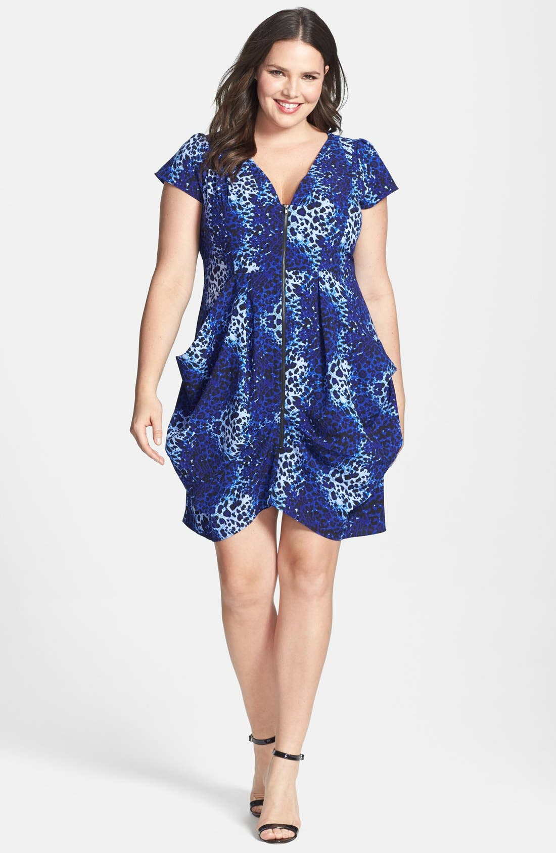 Alternate Image 1 Selected - City Chic 'Pool Leopard' Print Front Zip Pleat Tunic (Plus Size)