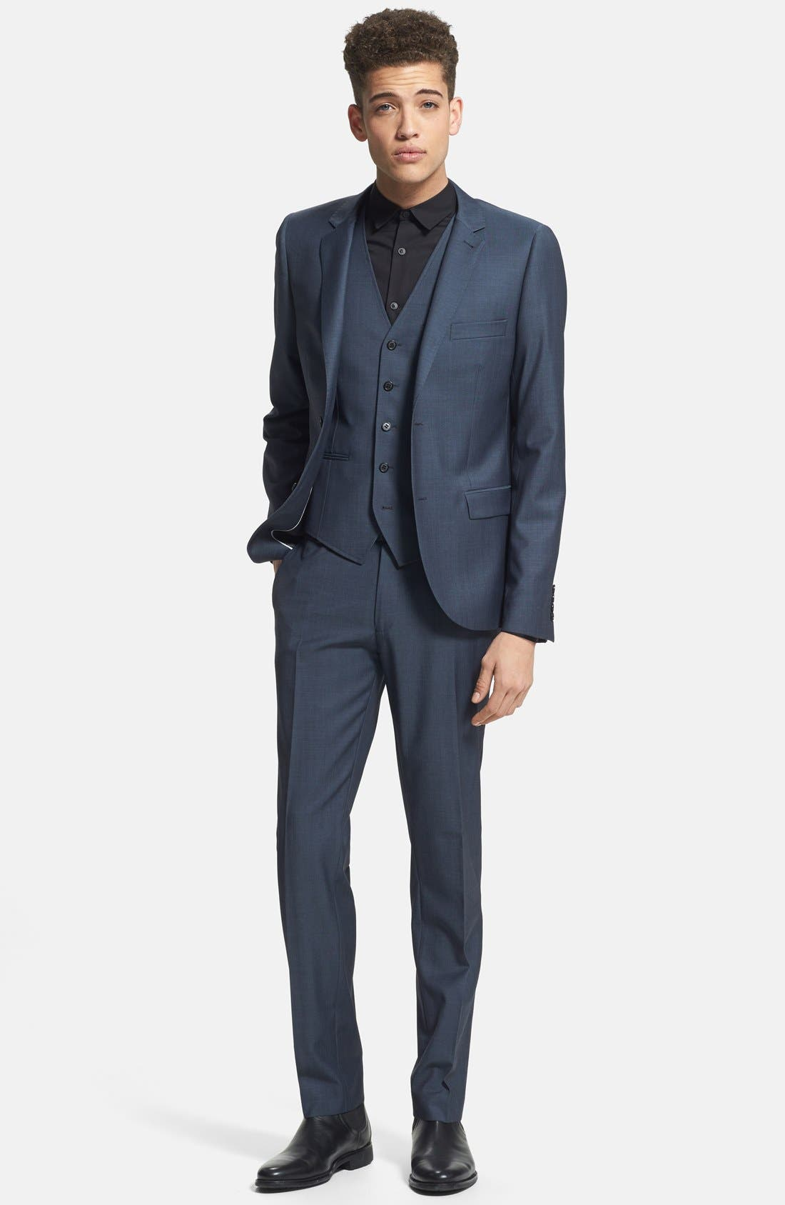 Alternate Image 4  - Topman Skinny Fit Navy Suit Trousers