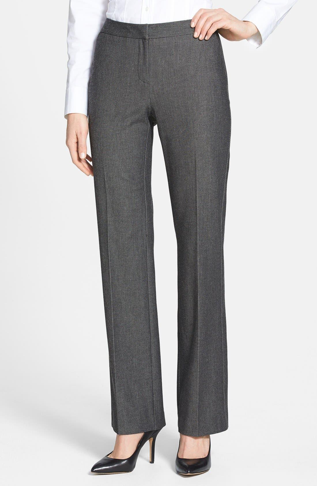 Main Image - Halogen® 'Taylor' Pin Dot Weave Pants (Petite)