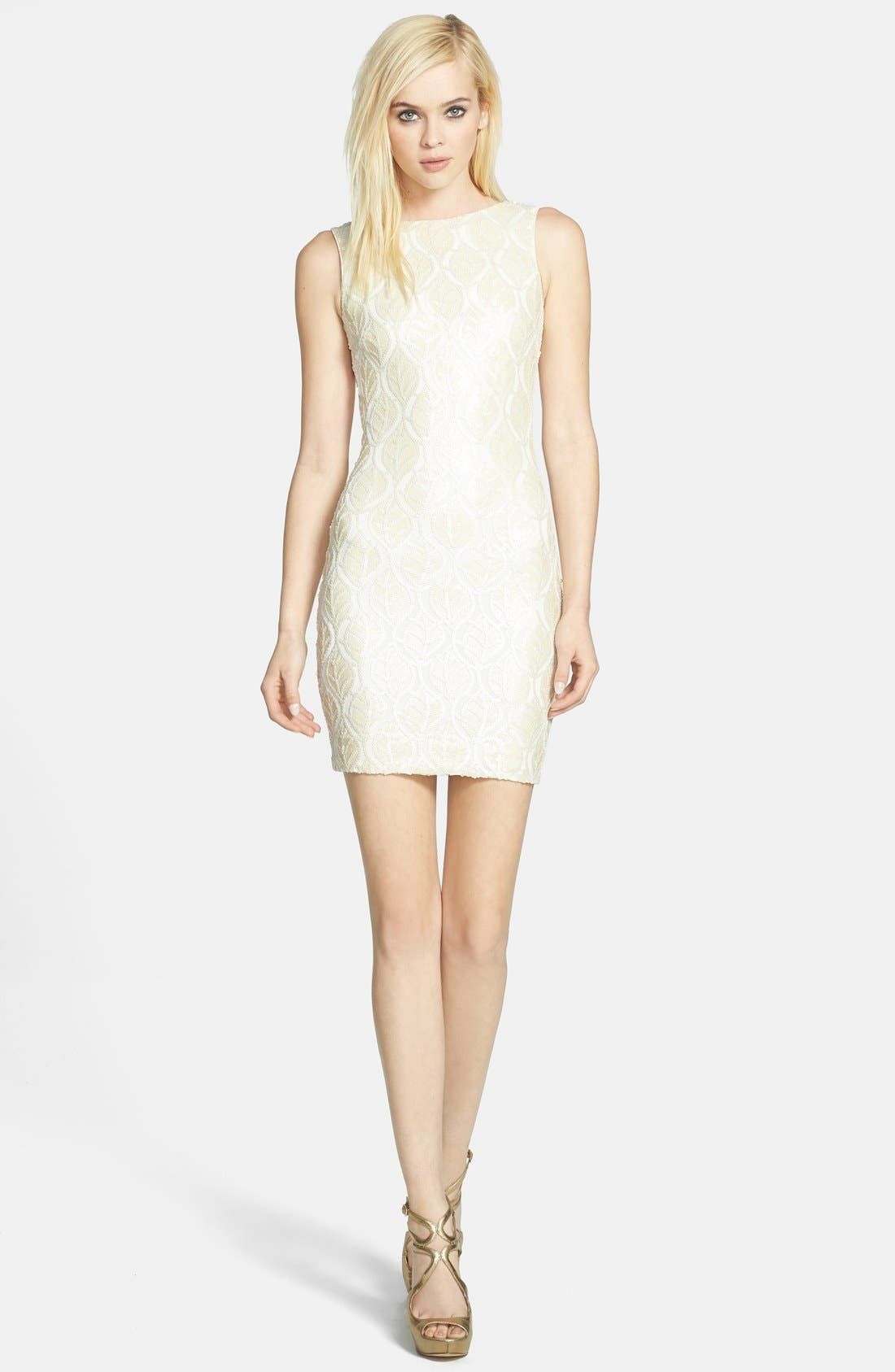 Alternate Image 3  - Dress the Population 'Kim' Faux Leather Sequin Body-Con Dress