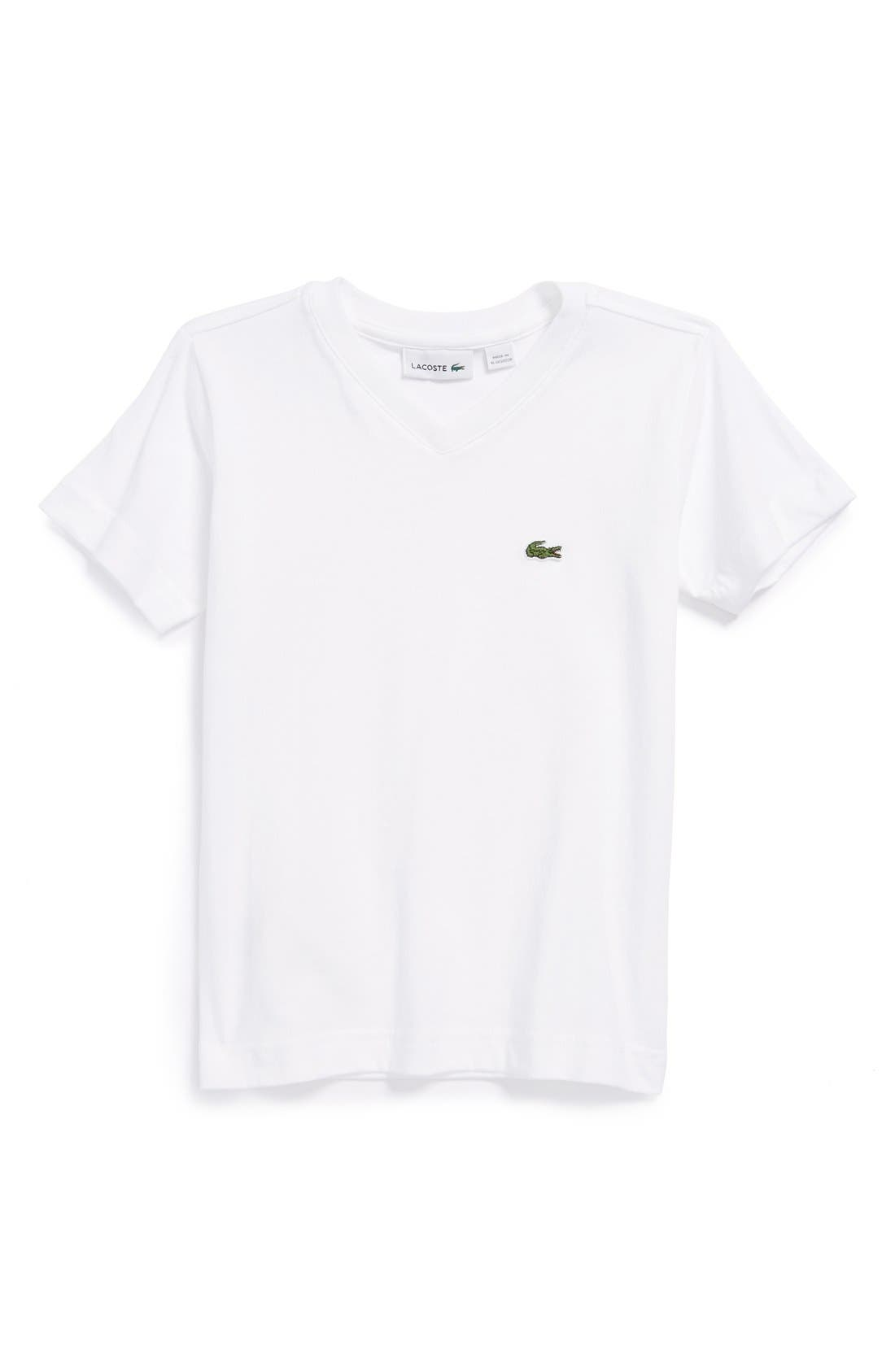 Alternate Image 1 Selected - Lacoste Classic Jersey V-Neck T-Shirt (Toddler Boys)