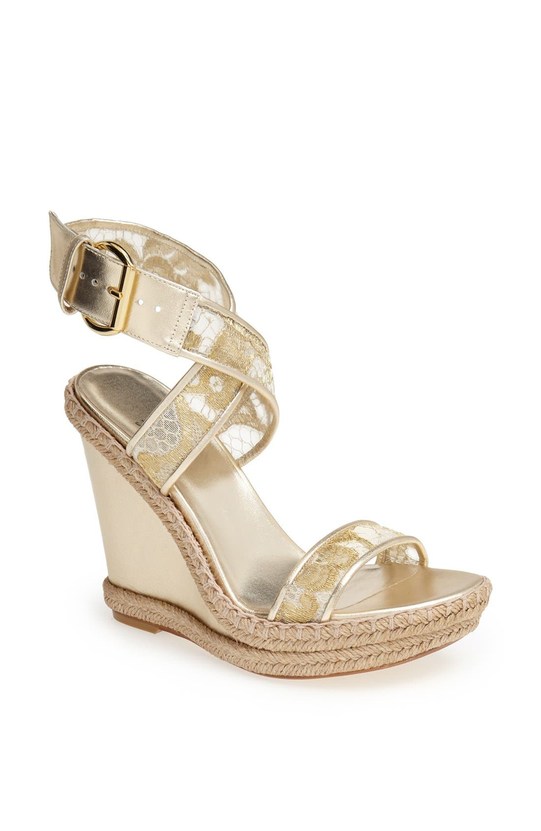 Alternate Image 1 Selected - Stuart Weitzman 'Guipure' Wedge Sandal