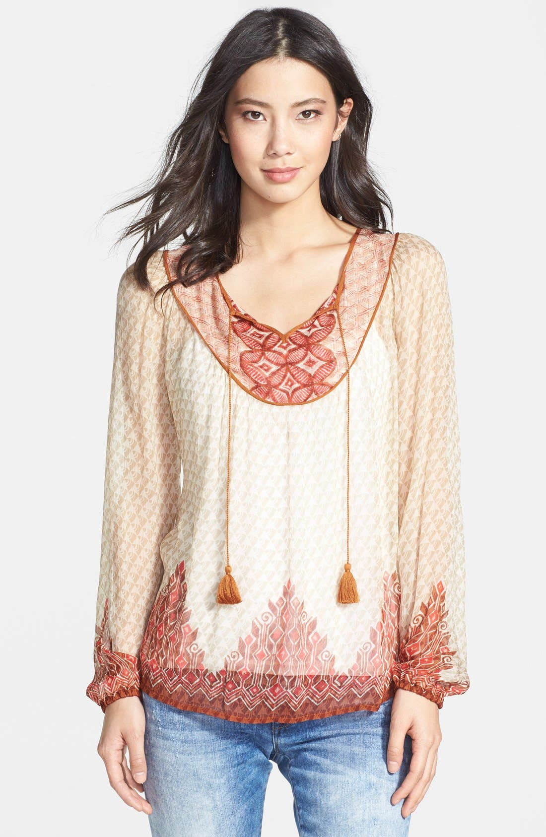 Main Image - Lucky Brand 'Avalon' Deco Border Peasant Blouse