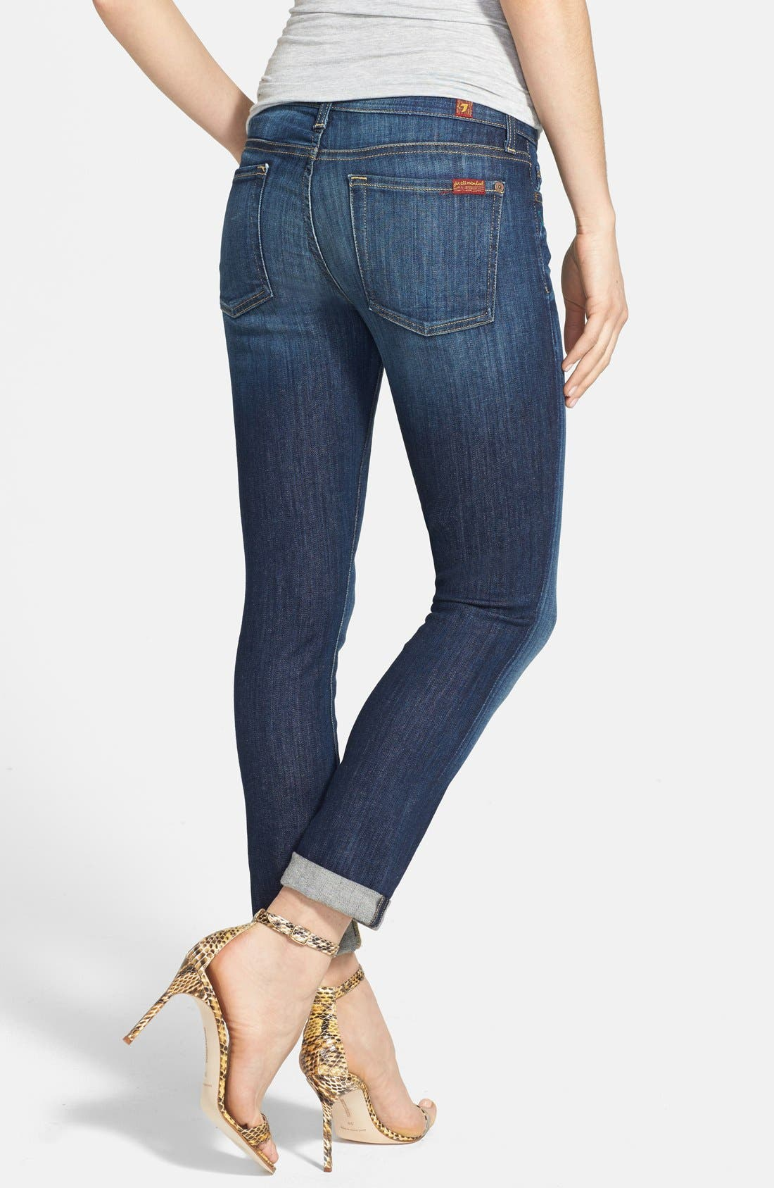 Alternate Image 2  - 7 For All Mankind® Crop Skinny Jeans (Nouveau New York Dark)