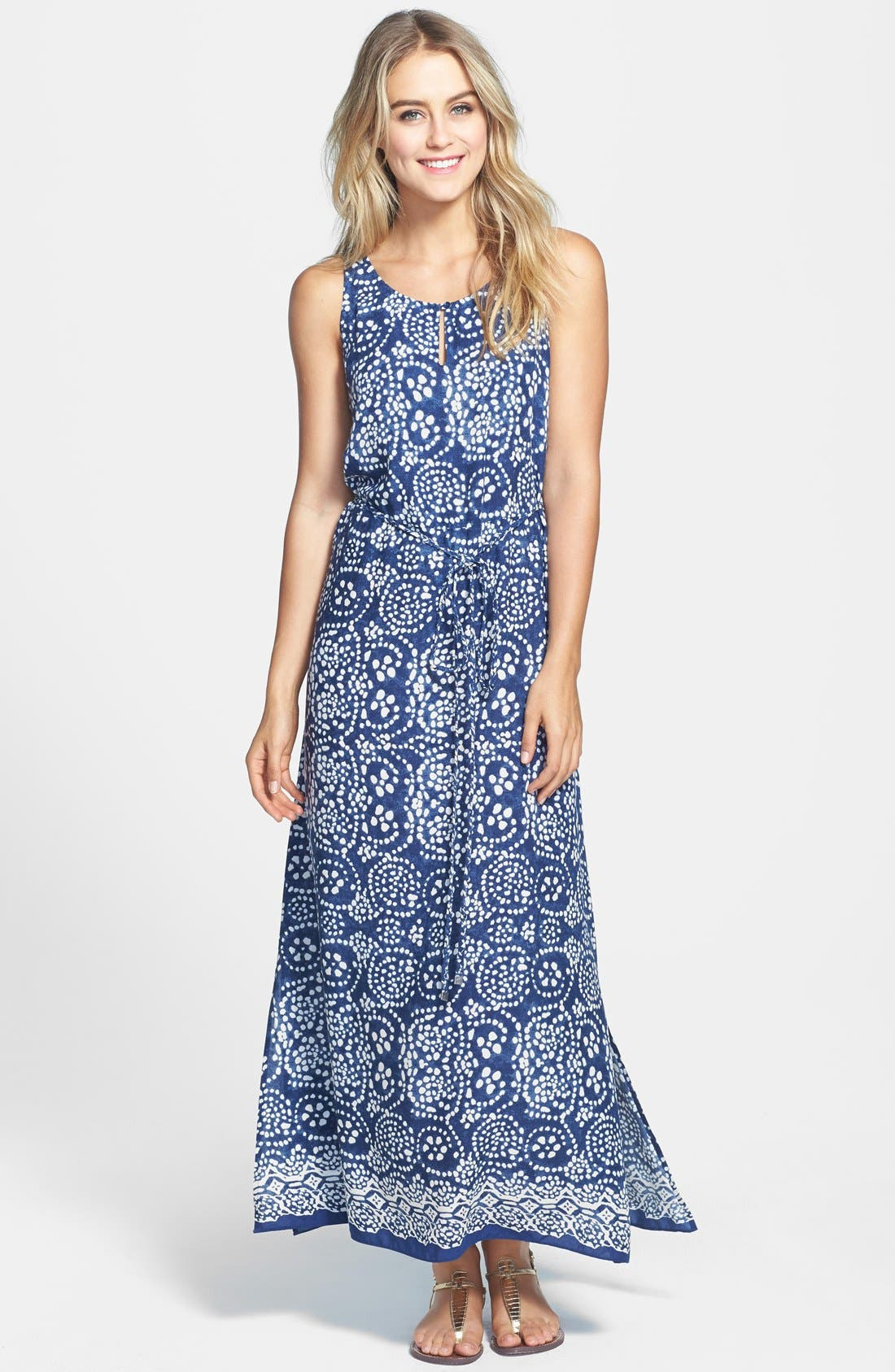 Main Image - Two by Vince Camuto Keyhole Neck Woven Maxi Dress