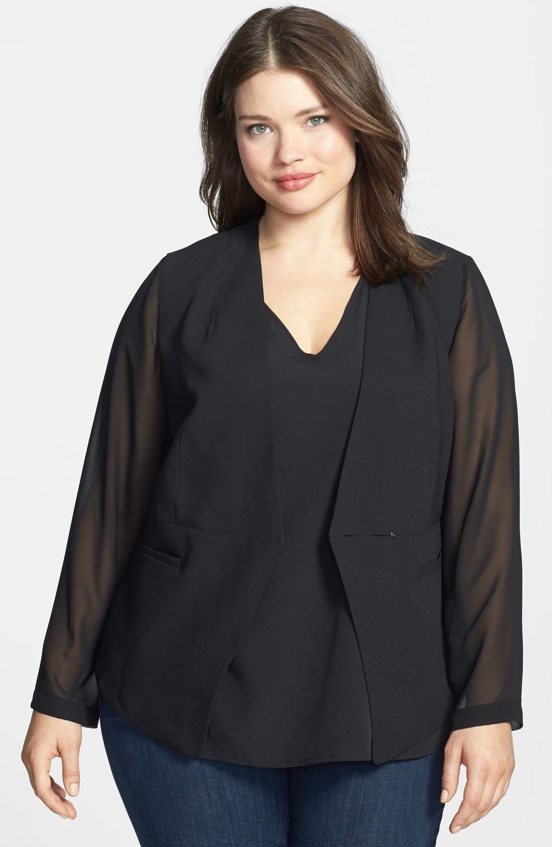 Alternate Image 1 Selected - Vince Camuto Angled Front Jacket (Plus Size)