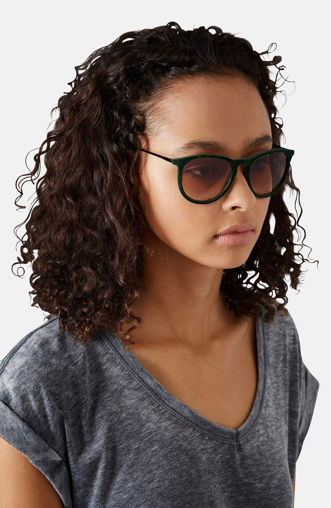 Alternate Image 2  - Topshop 'Revo' 53mm Velour Sunglasses