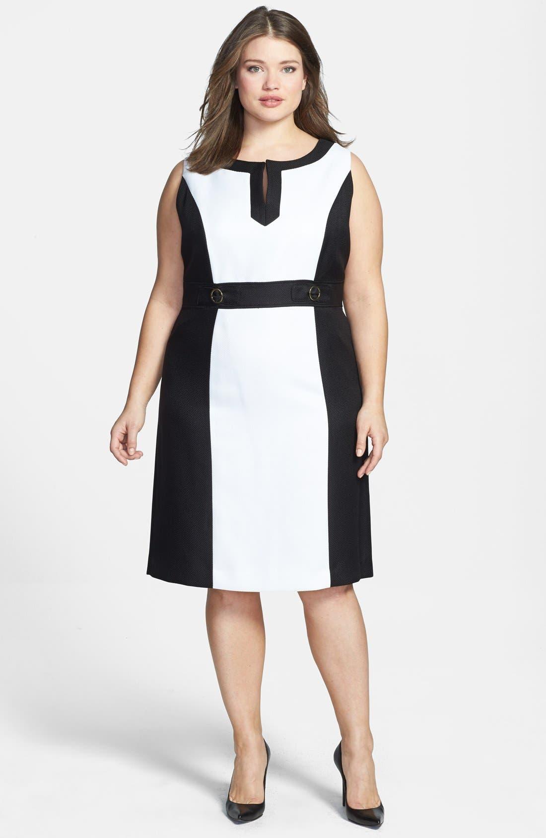 Alternate Image 1 Selected - Tahari by ASL Colorblock Split V-Neck Sheath Dress (Plus Size)