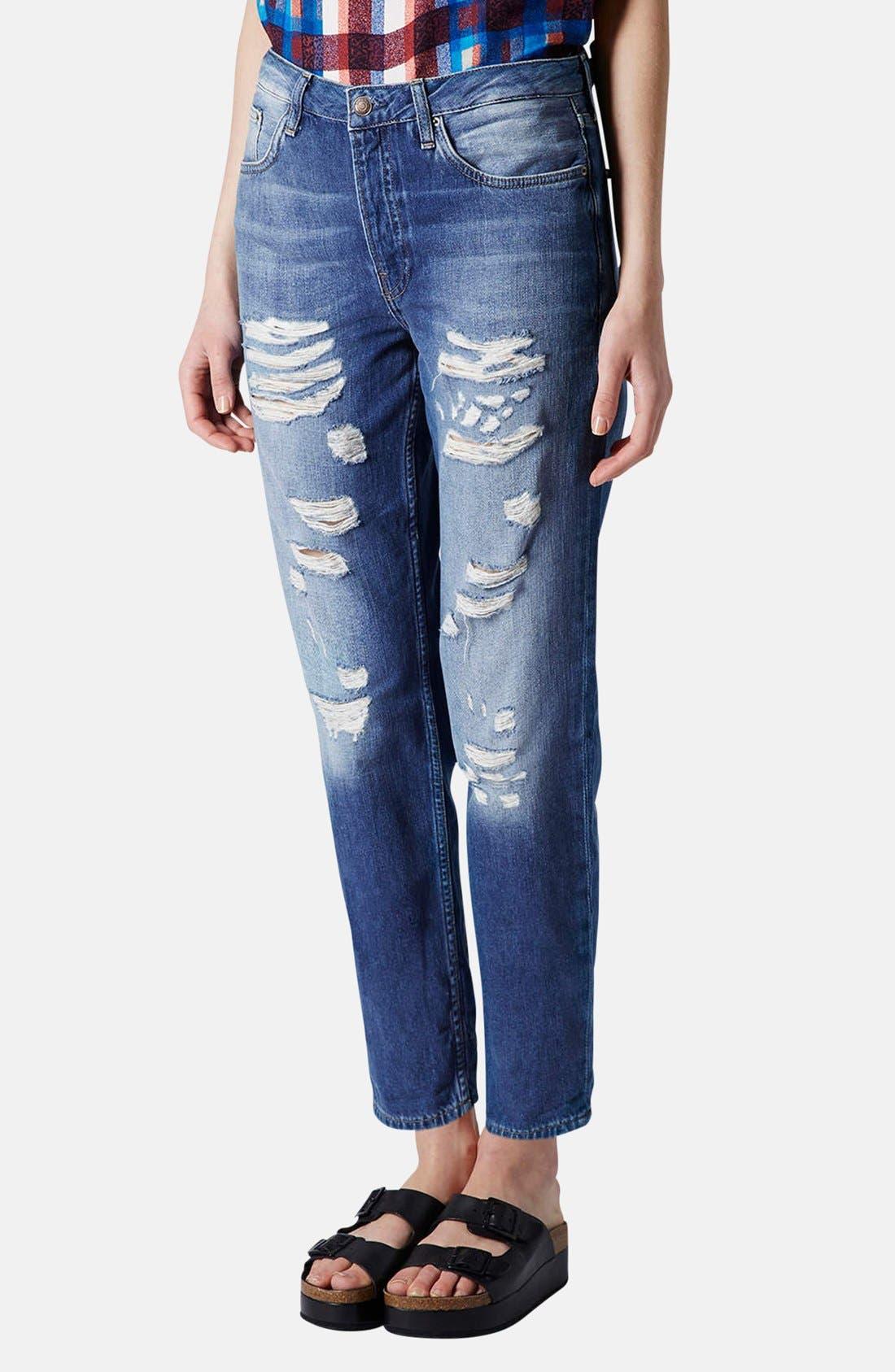 Main Image - Topshop Moto 'Hayden' Destroyed Boyfriend Jeans (Mid Denim) (Regular & Short)