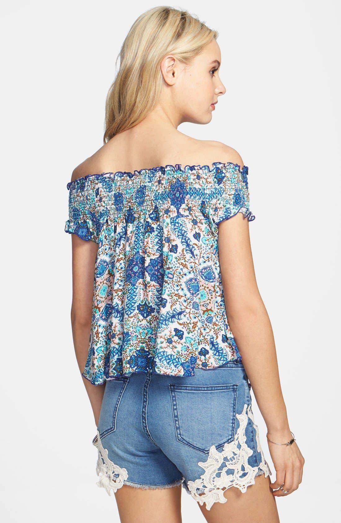 Alternate Image 2  - Band of Gypsies Floral Print Smocked Off-the-Shoulder Top (Juniors)