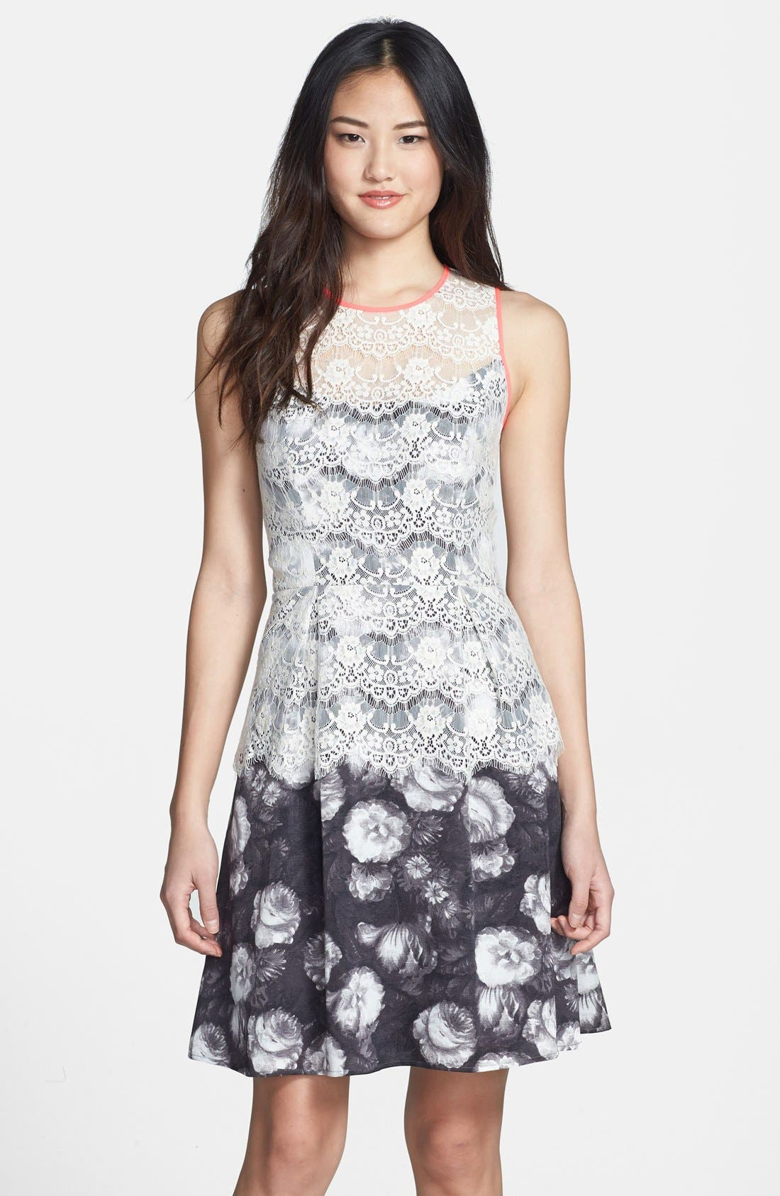 Main Image - Jessica Simpson Lace Overlay Print Fit & Flare Dress