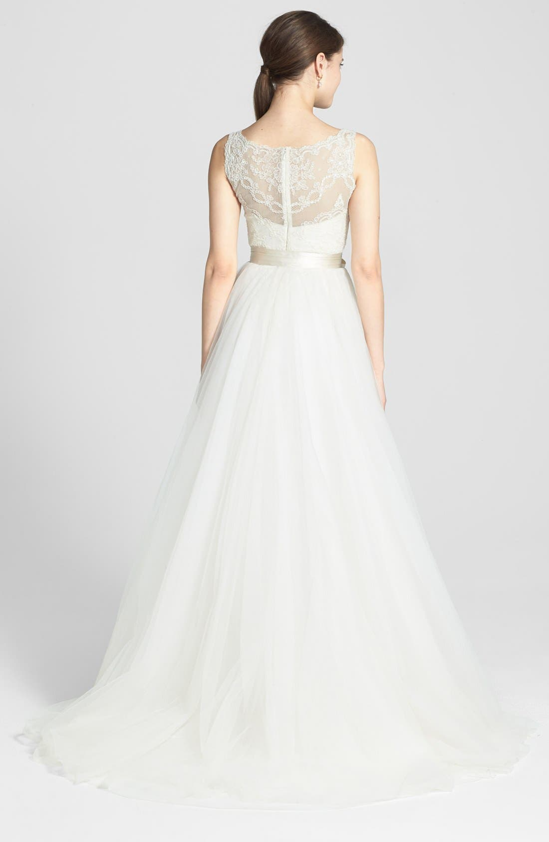Alternate Image 2  - Amsale 'Quinn' French Lace Illusion Bodice Tulle Wedding Dress (In Stores Only)