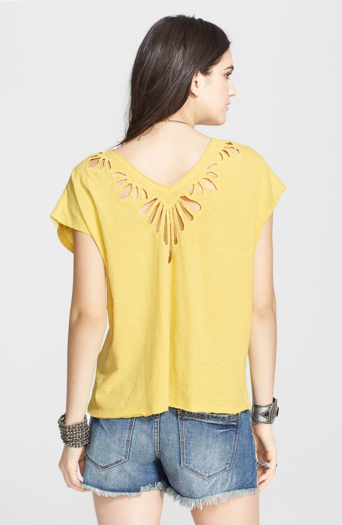 Alternate Image 2  - Free People Cutout Double V-Neck Tee