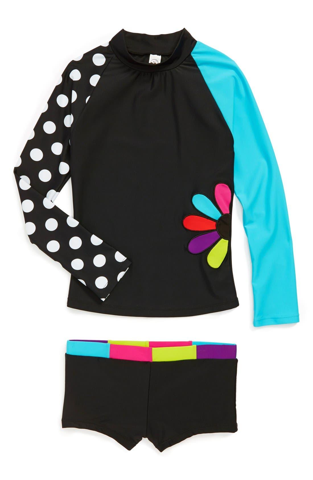 Alternate Image 1 Selected - Limeapple Two-Piece Rashguard Swimsuit (Little Girls & Big Girls)
