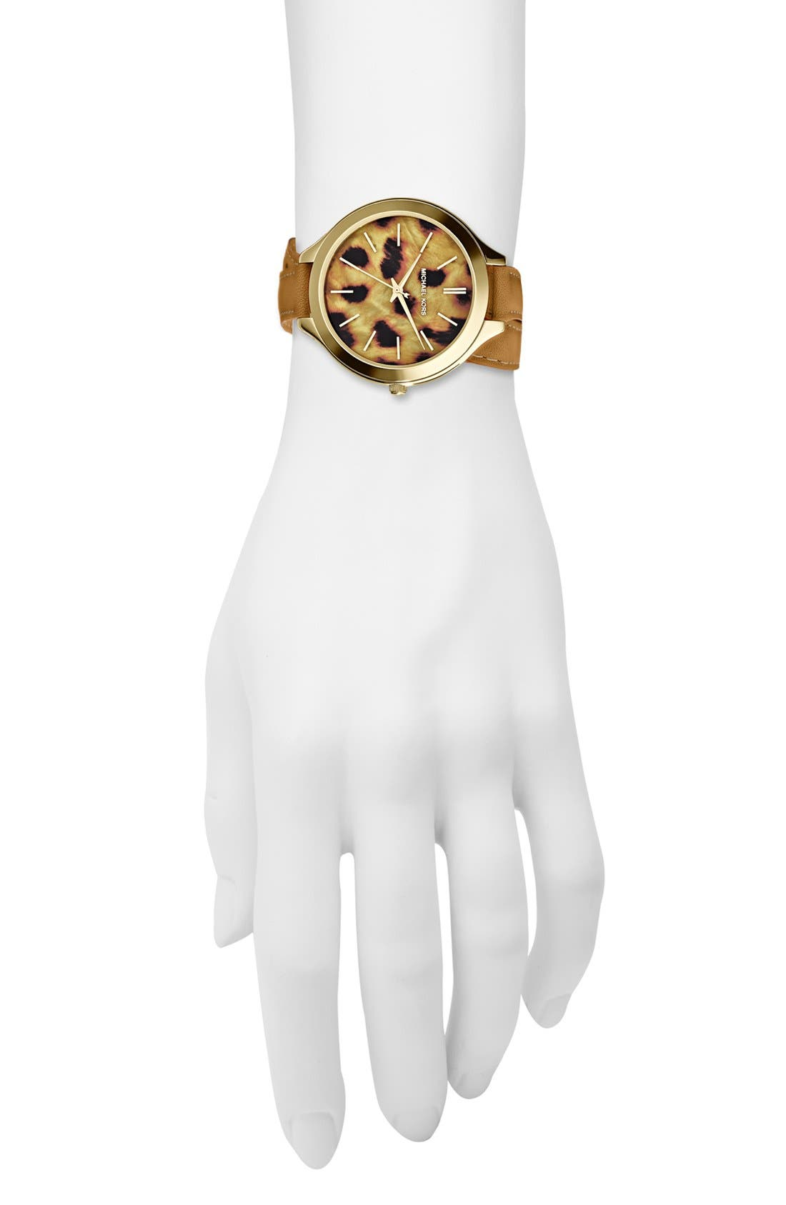 Alternate Image 4  - Michael Kors 'Slim Runway' Cheetah Dial Leather Wrap Watch, 42mm