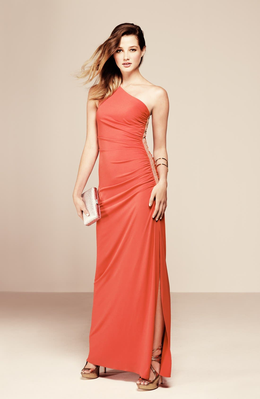 Alternate Image 3  - Laundry by Shelli Segal Beaded Panel One-Shoulder Jersey Gown (Regular & Petite)