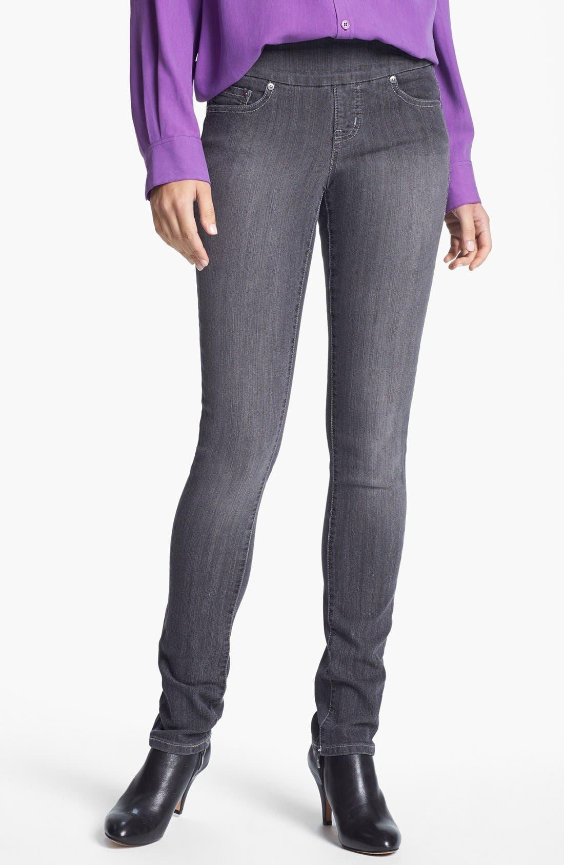 Alternate Image 1 Selected - Jag Jeans 'Malia' Slim Leg Stretch Jeans (Grey) (Petite)