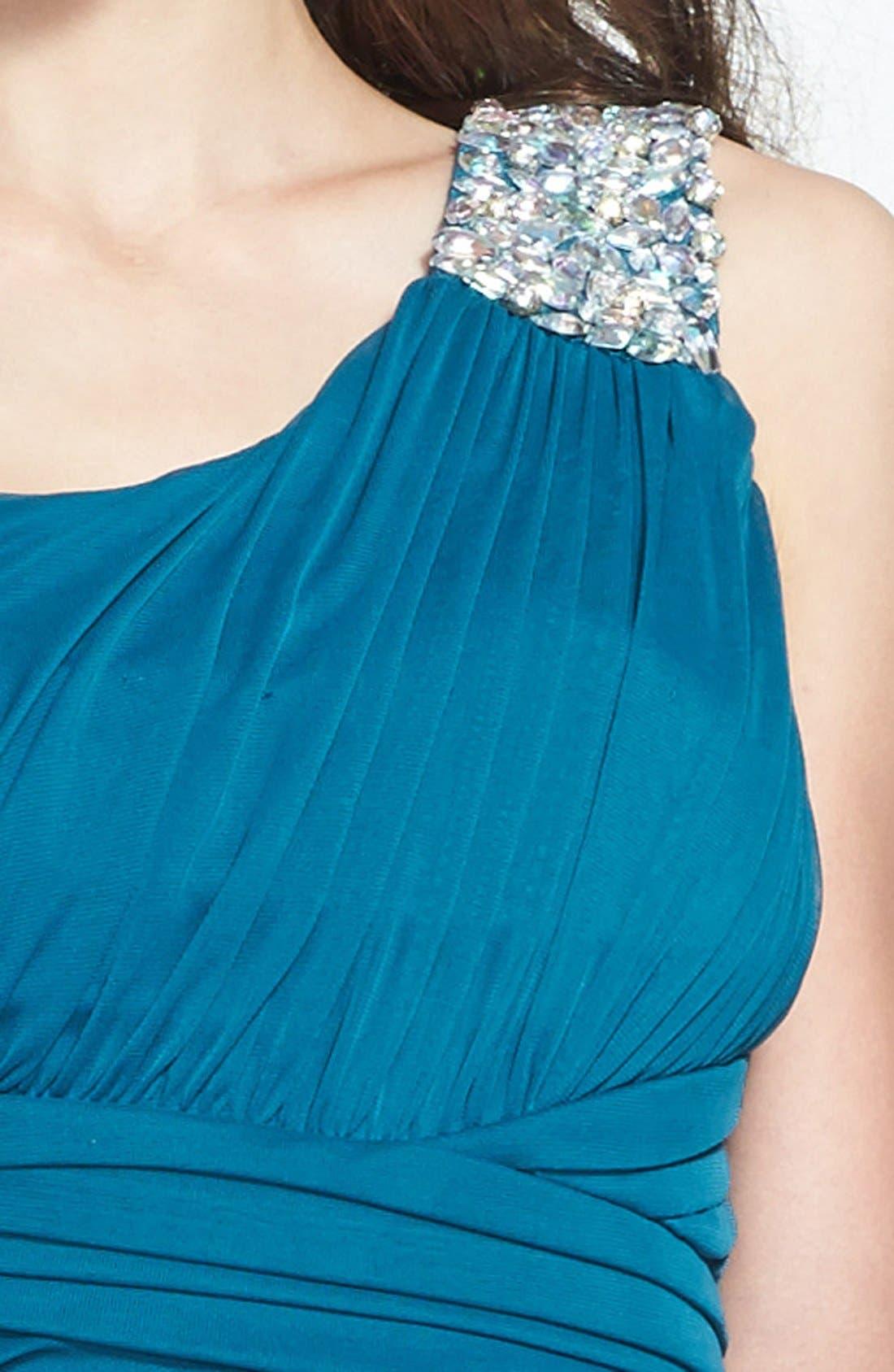 Alternate Image 3  - Way-In Embellished One-Shoulder Mesh Gown (Juniors)