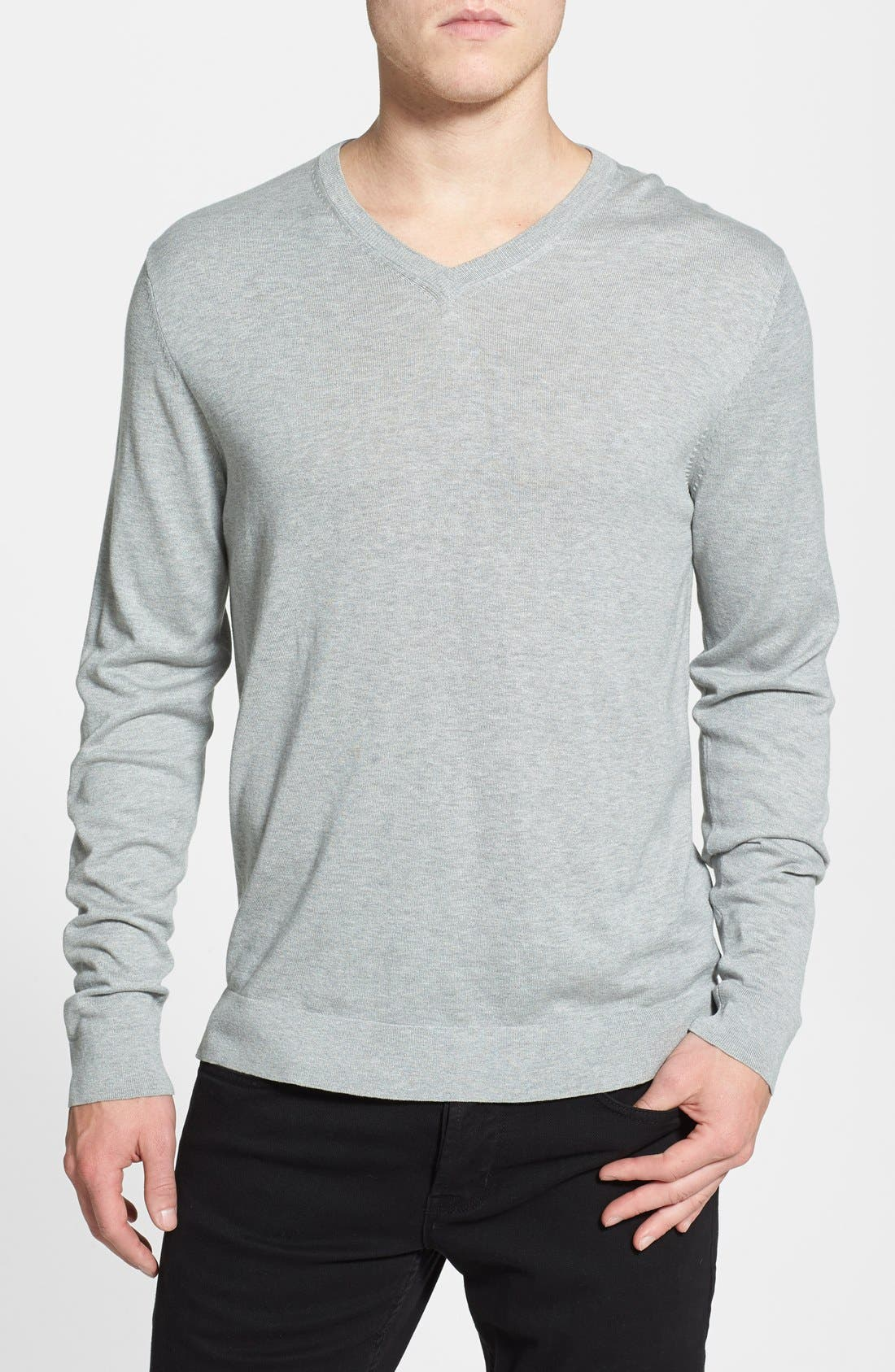 Alternate Image 1 Selected - Kenneth Cole Collection Silk & Cotton V-Neck Sweater