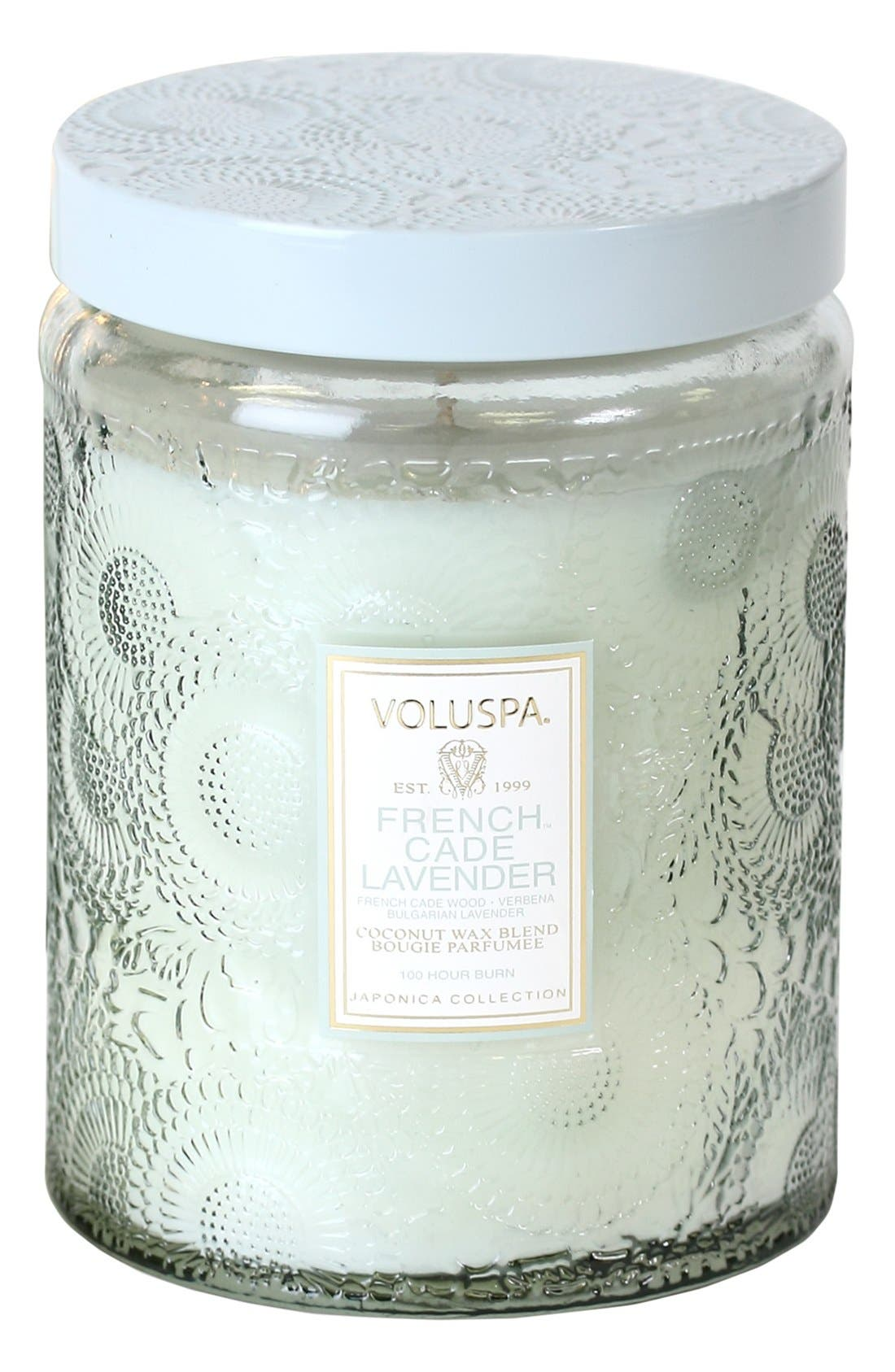 Alternate Image 1 Selected - Voluspa Japonica French Cade Lavender Large Embossed Jar Candle