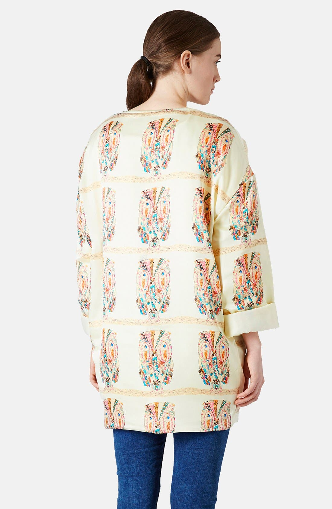 Alternate Image 2  - Topshop Owl Pattern Satin Jacket
