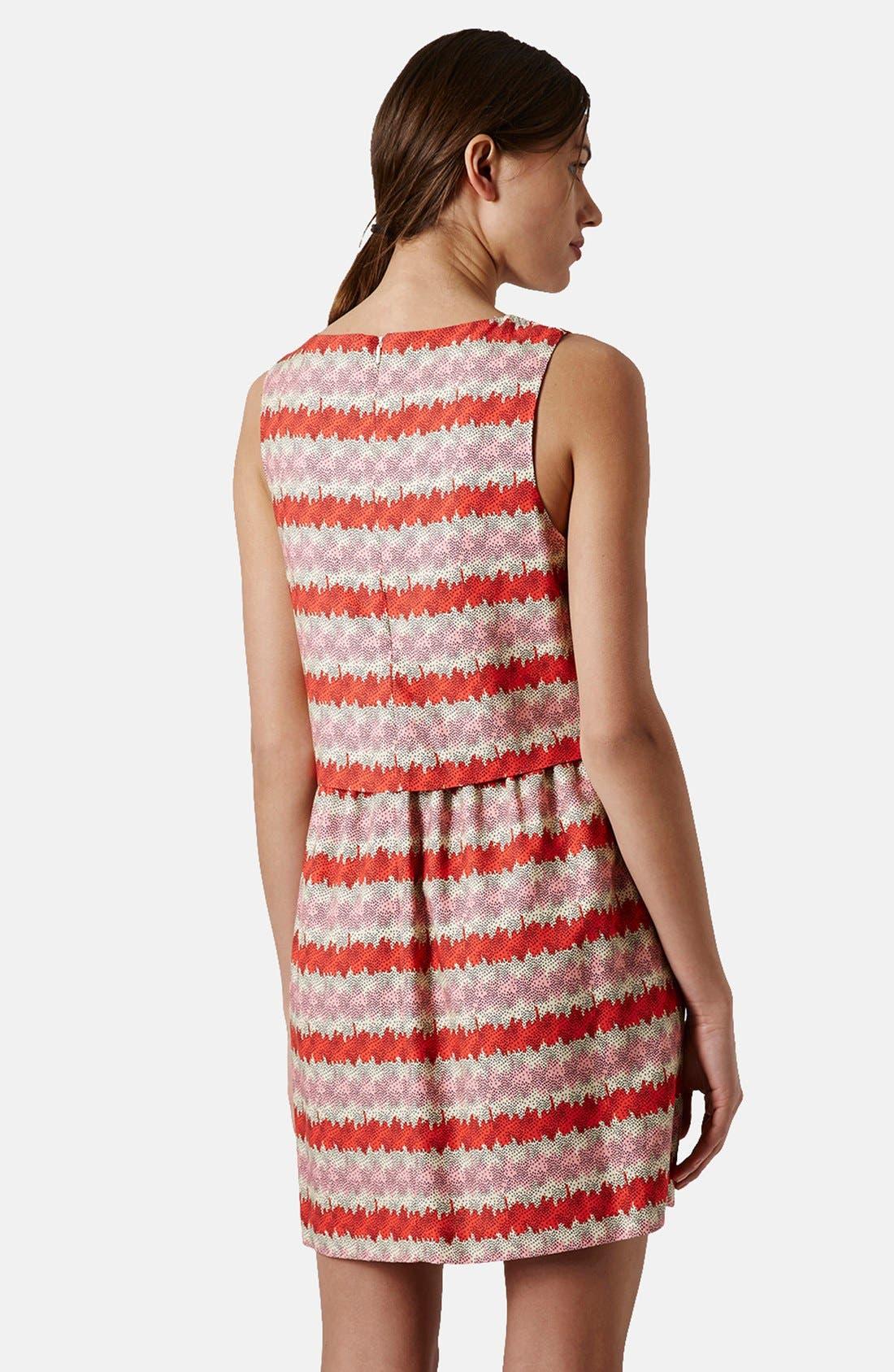 Alternate Image 2  - Topshop 'Kiwi Stripe' Print Crop Bodice Dress